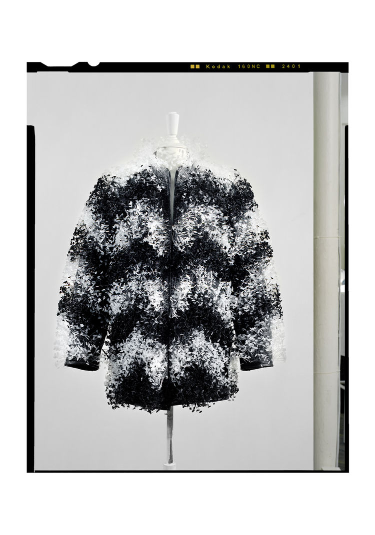Maison Martin Margiela Artisanal line, plastic fur jacket. Martin Margiela (Belgian, b. 1957), Maison Martin Margiela. France, 2009. 29,000 plastic garment label fastenings, lambskin leather. Photo : Marina Faust