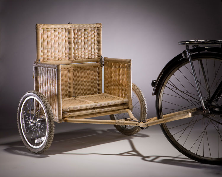 Samarth Bicycle Trailer, prototype. Radhika Bhalla (Indian, b. 1983). Designed United States, deployed India, 2008–present. Locally sourced bamboo, rattan, iron, jute, coconut fiber, wheels. Photo: Vahe D'Ala