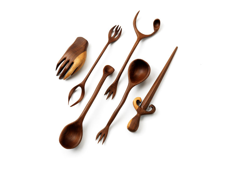 Witches' Kitchen Collection, Design with a Conscience Series, assorted wooden utensils. Tord Boontje (Dutch, b. 1968), Studio Tord Boontje. Manufactured by artisans in Guatemala. Client: Artecnica. Designed France, manufactured Guatemala, 2008. Sustainabl