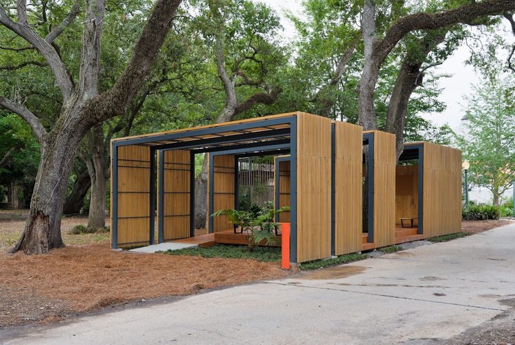 """The 1,000-square-foot pavilion was completed in 2009 as a volunteer structure and tool shed--though today its used far more by the public than initially anticipated. """"The garden was wiped out after the storm,"""" McKay recalls. """"There was nothing, zero. Volu"""