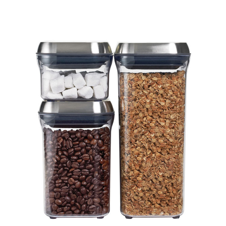 "We long loved the <a href=""http://www.dwell.com/products/good-grips.html"">POP containers from OXO</a>. With one push they open and with another they create an airtight seal. Come October, the containers will be available with this new stainless steel lid"