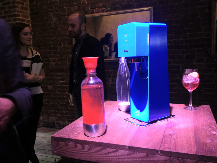 "<a href=""http://www.fuseproject.com/yves_behar.php"">Yves Behar</a> demonstrated his new <a href=""http://www.sodastreamusa.com/"">SodaStream</a> design at a dinner in the Meatpacking District on Sunday evening. There are three bubble-strength settings (thre"