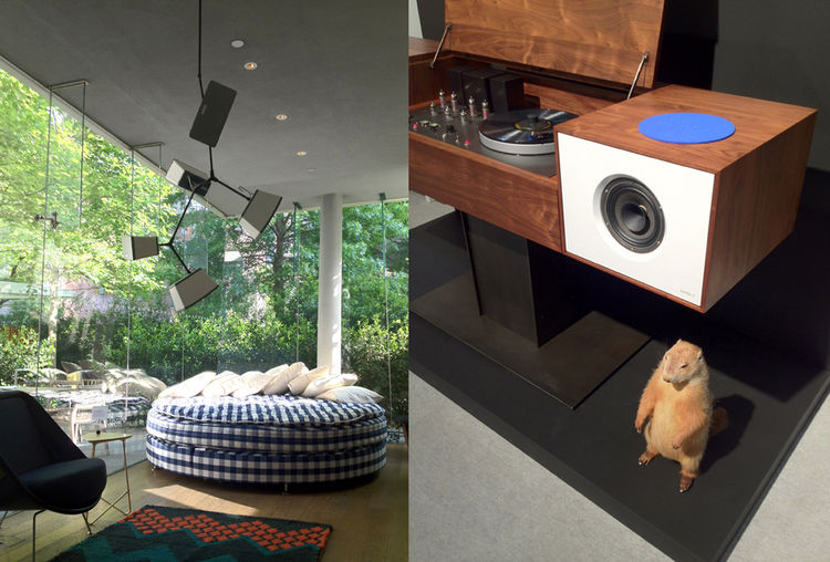 "In the Sonos Sound Library (left), designer <a href=""http://www.kielmead.com/"">Kiel Mead</a> re-worked a <a href=""http://lindseyadelman.com/"">Lindsay Adelman</a> chandelier with Sonos speakers. A <a href=""http://www.hastens.com/en/"">Hastens</a> round matt"