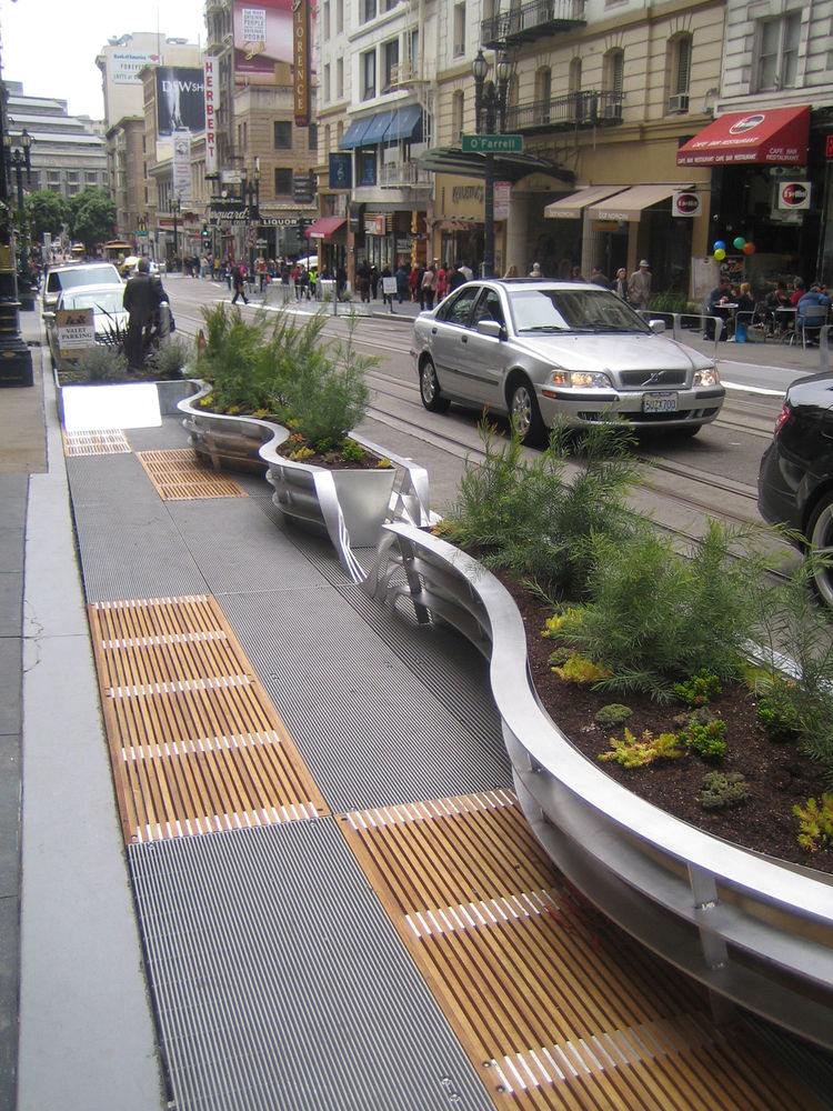 "Hood told me that the design brief was to ""express the ideas that Audi represents."" The German auto manufacturer ponied up the $900,000 needed for the project and though you could easily use the parklets without having any idea that Audi was involved, Hoo"