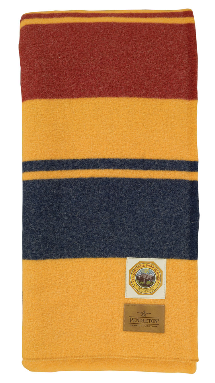 Bolder, bigger blocks of color define the Yellowstone blanket. Fittingly, a sun-baked yellow takes the lead.