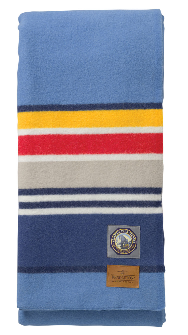 Cool blues and even more stripes mark this Yosemite blanket. This one veers a bit into beach towel territory if you ask me, but the muted tones could help anchor a splashy interior.