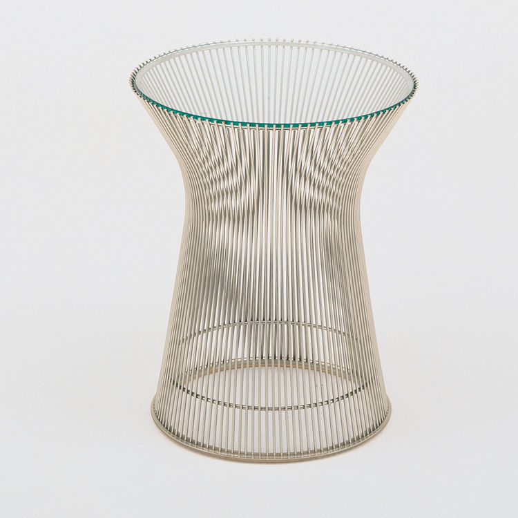 "<b>Platner Side Table</b> by Warren Platner for <a href=""http://www.knoll.com"">Knoll</a>, $930 for metallic bronze base with bronze glass top"