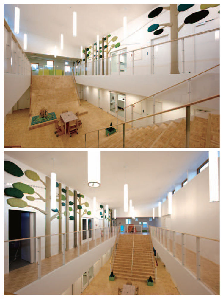 Inside the Dragen Children's House, the sustainable building approach is reflected in the tree motifs and the green materials, many of which are Nordic Ecolabel certified. The double-height space features a dramatic central area with stairs that double as