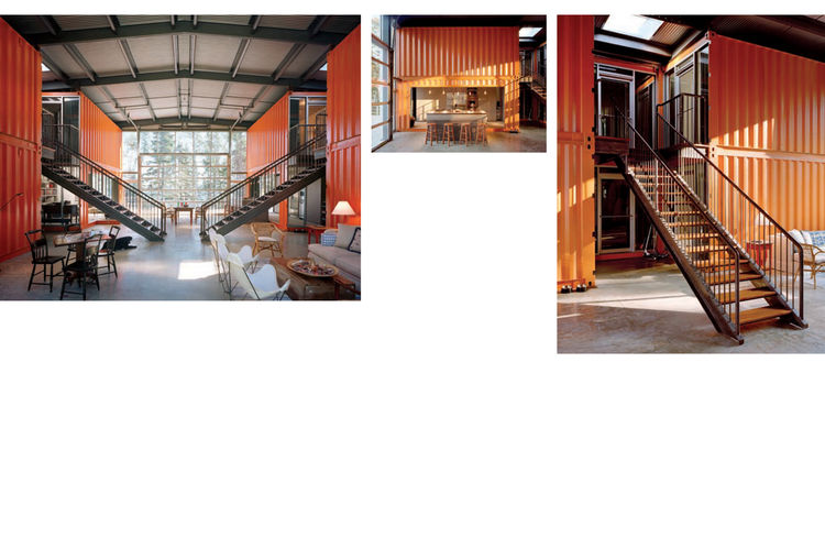 """Sections of the Adriance House by <a href=""""http://www.architectureandhygiene.com"""">Adam Kalkin</a>. Photo from <i>Quik Build: Adam Kalkin's ABC of Container Architecture</i>. Courtesy of Adam Kalkin."""