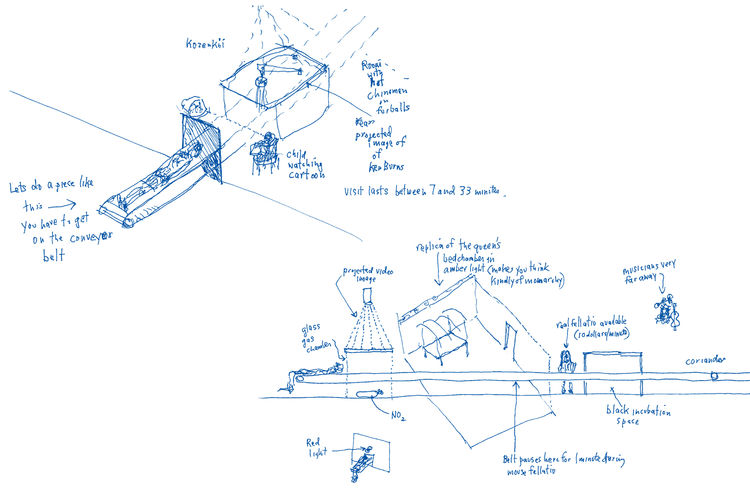 """Sketches of the Boite en Valise by <a href=""""http://www.architectureandhygiene.com"""">Adam Kalkin</a>. Page from <i>Quik Build: Adam Kalkin's ABC of Container Architecture</i>. Courtesy of Adam Kalkin."""