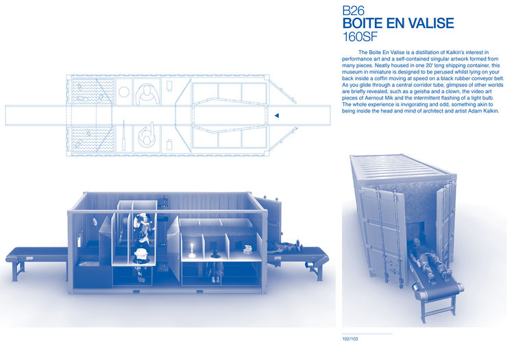 """Boite en Valise by <a href=""""http://www.architectureandhygiene.com"""">Adam Kalkin</a>. Page from <i>Quik Build: Adam Kalkin's ABC of Container Architecture</i>. Courtesy of Adam Kalkin."""