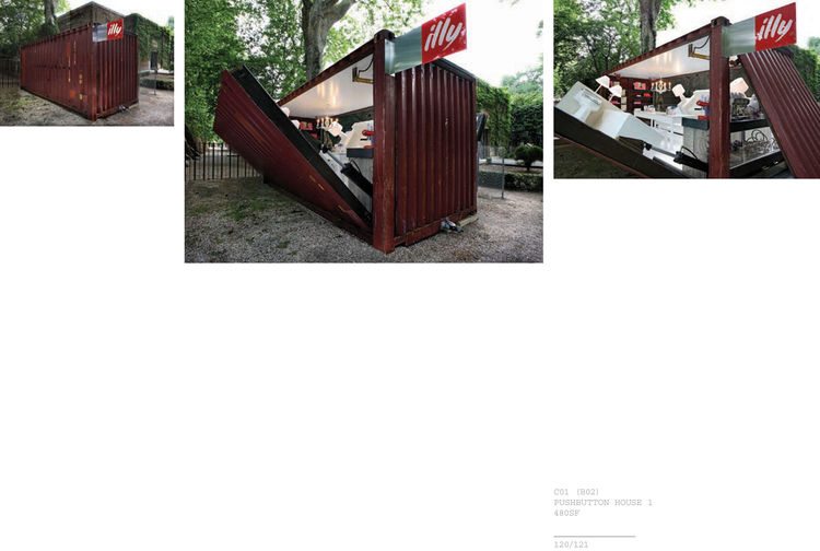 """The Illy coffee Push Button House 1 by <a href=""""http://www.architectureandhygiene.com"""">Adam Kalkin</a> in action. Page from <i>Quik Build: Adam Kalkin's ABC of Container Architecture</i>. Courtesy of Adam Kalkin."""