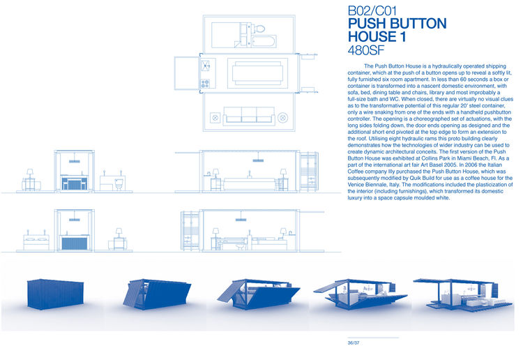 """Push Button House 1 by <a href=""""http://www.architectureandhygiene.com"""">Adam Kalkin</a>. Page from <i>Quik Build: Adam Kalkin's ABC of Container Architecture</i>. Courtesy of Adam Kalkin."""