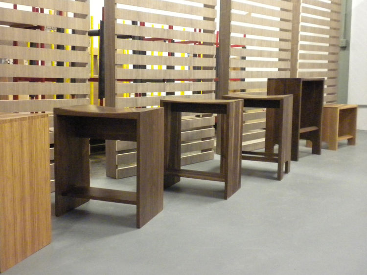 The factory is also home to the company's testing area. Shown here are prototypes for and the final designs of Henrybuilt's new stools.