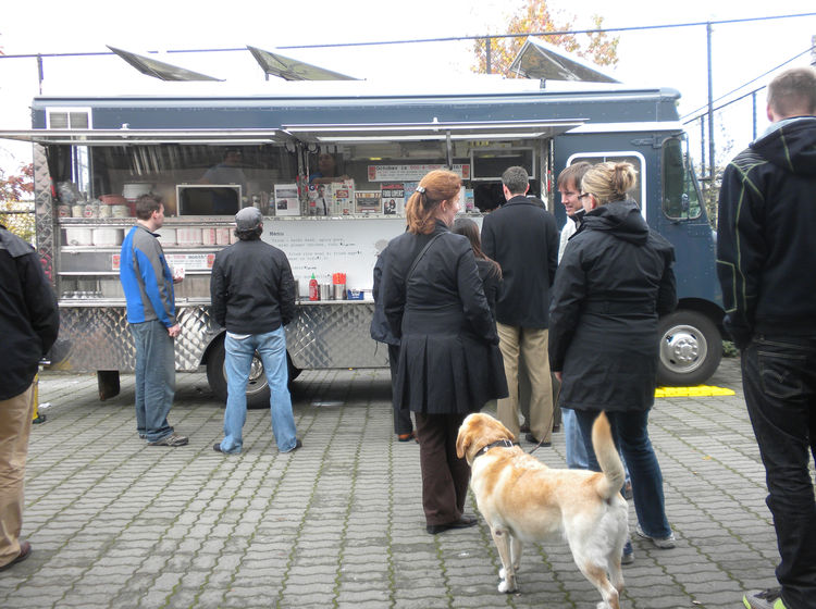 "Around the corner from the P-Patch was <a href=""http://marinationmobile.com/"">Marination</a>, a Korean taco truck and another Twitter tip. The line took about 10 or 15 minutes to get through, which I was told was incredibly short for this popular mobile e"