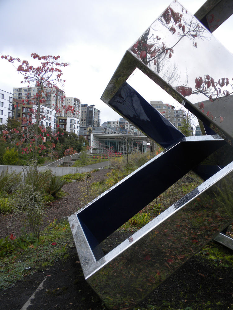 "My favorite part of the zig-zagging park designed by <a href=""http://www.weissmanfredi.com/"">Weiss/Manfredi</a> was the ""Valley,"" which among other sculptures houses Beverly Pepper's <i>Peer's Ventaglio III</i>, shown here with the exhibition pavilion in"