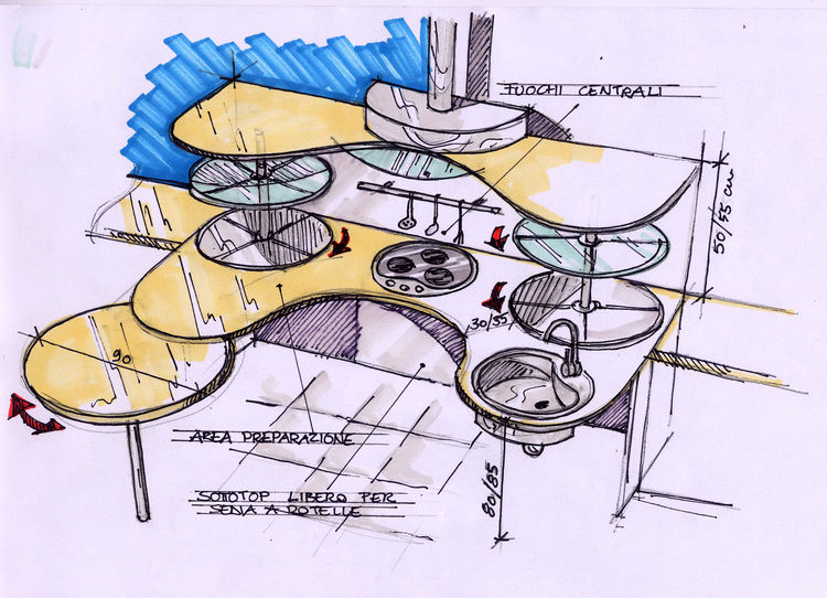 Snaidero worked with Lucci Orlandini Design to create the kitchen collection, which the company later tested by installing a kitchen in the spinal unit at the Gervasutta Institute of Rehabilitative Medicine in Udine, Italy, for patients in wheelchairs par
