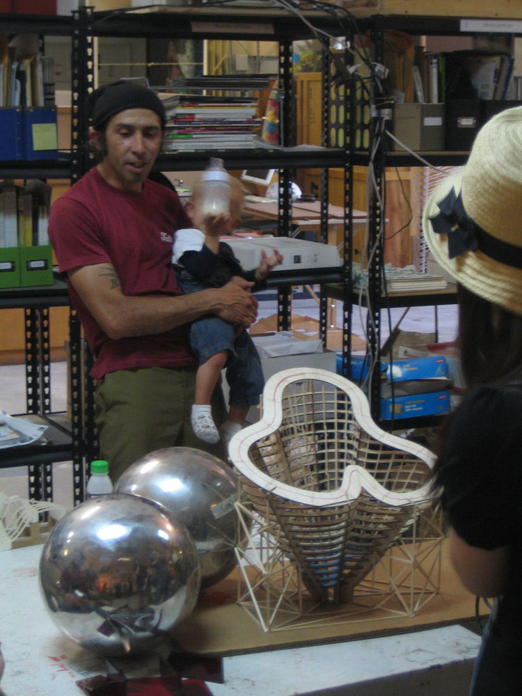 """The final stop on the tour was at the downtown offices of the architecture/art/design firm <a href=""""http://www.ball-nogues.com/"""">Ball Nogues</a>. Gaston Nogues was there with his son to show us around the dynamic, messy space."""