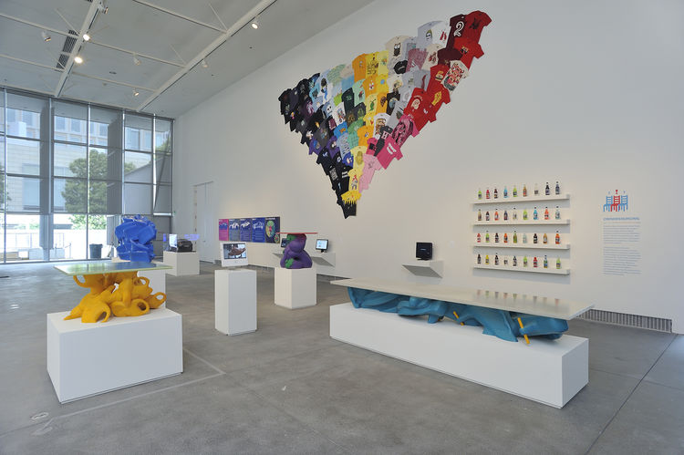 """In the installation at the Yerba Buena Center for the Arts are two of Greg Lynn's Toy Furniture (front) as well as a collage of <a href=""""http://www.threadless.com/"""">Threadless</a> t-shirts, a company included for its crowdsourced and selected designs. Pho"""