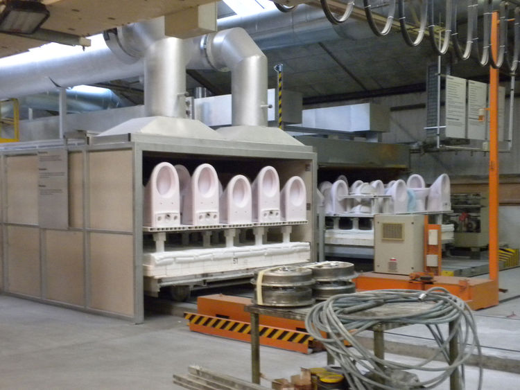 All of Laufen's products start as clay and water combined to make slip. After casting, drying, and glazing, the pieces are fired in a tunnel kiln that's center reaches temperatures of more than 2,200 degrees Fahrenheit. To see finished pieces and learn mo