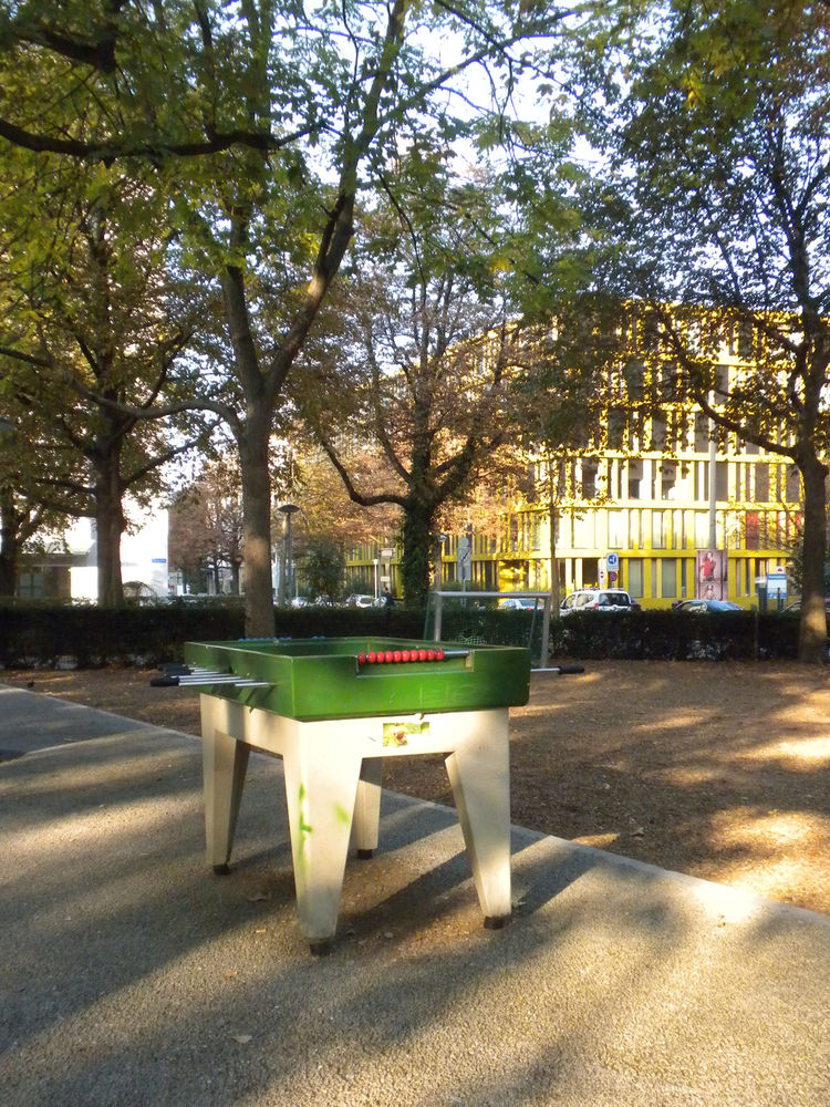 A sense of play is tangible throughout the city. I spotted several ping pong tables next to one church and then saw this fooseball table in a park.