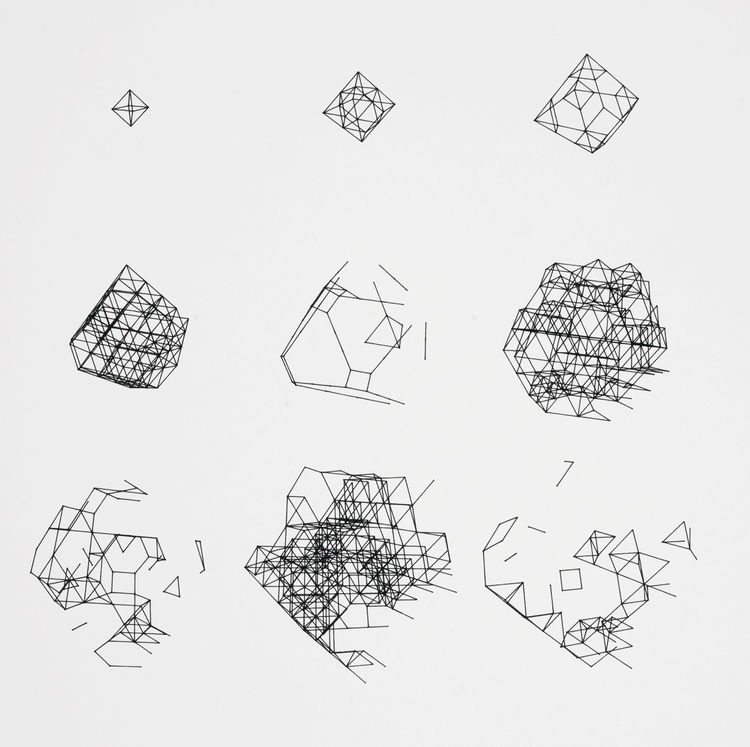 "Paul Brown's plotter drawing ""BIGDIM / 0 10 10 0 0 0 / 200,120 / 11,969"" is an intricate progression and deconstruction of geometric shapes. 1979, from <i>Digital Pioneers</i>."