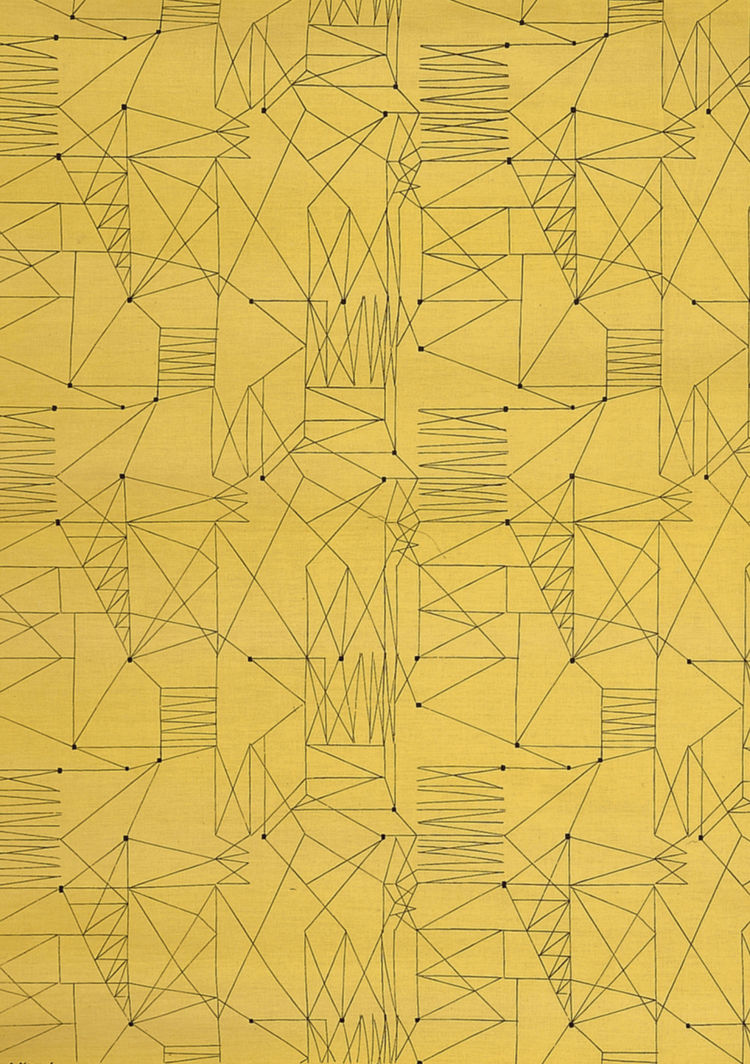 """Graphica"" is a furnishing fabric sample from British textile design maven Lucienne Day for Heal's. 1954, from <i>The Fifties</i>."