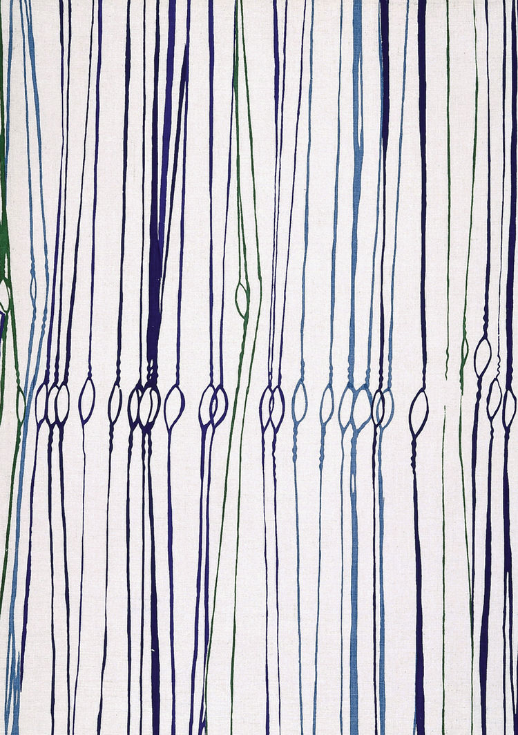 "The simple links of ""Fibra"" break up the lines of Esther Haraszty's furnishing fabric for Knoll. 1953, from <i>The Fifties</i>."