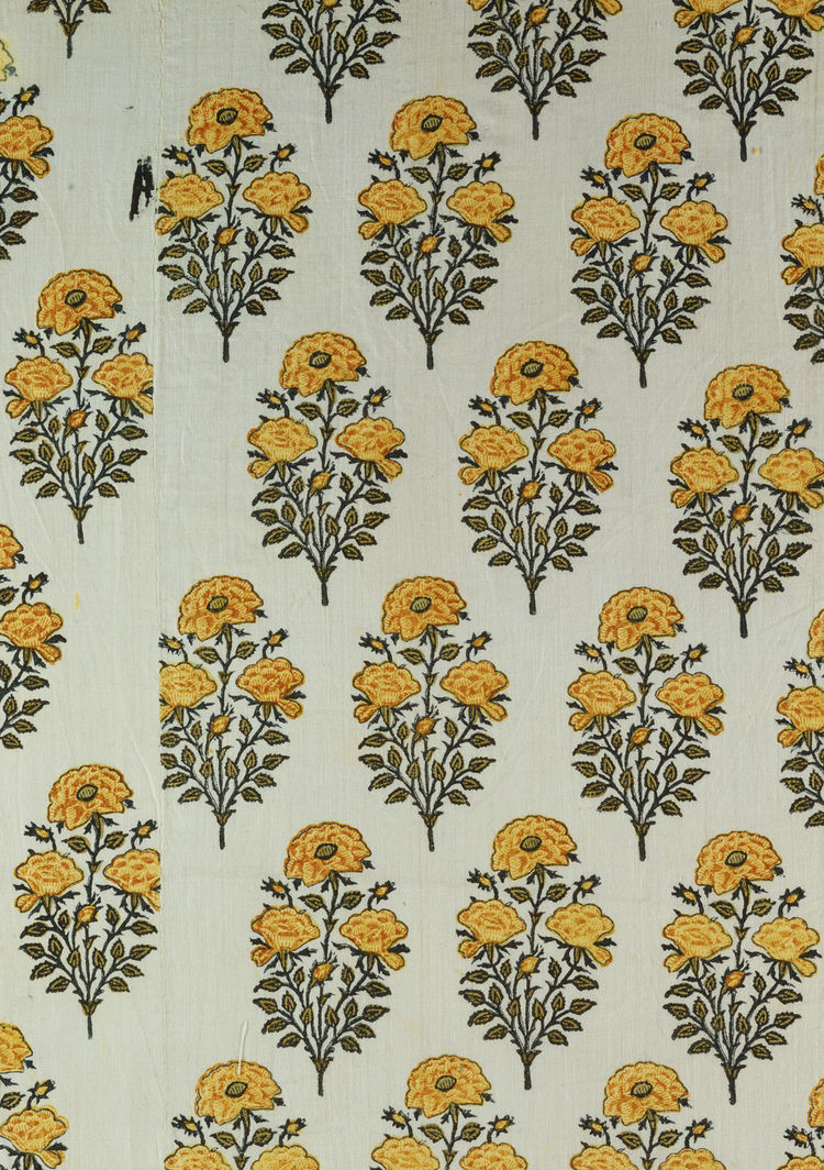 From Northern India, this sample is a length of printed, painted, and dyed cotton that came from a dress or furnishing fabric. Early 18th century, from <i>Indian Florals</i>.