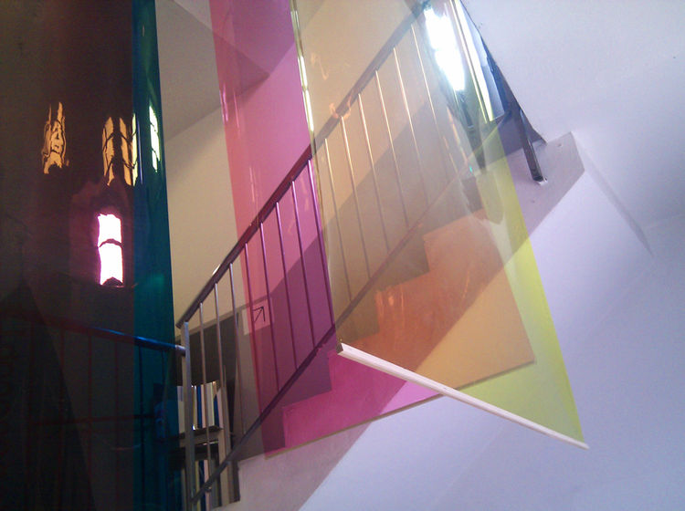 "Inside one building, <a href=""www.rca.ac.uk"">Royal College of Art</a> students present an exhibition entitled Paradise, featuring rooms paneled with huge sheets of colored acetate and displays assembled from silvered or transparent rolls of thick mylar th"