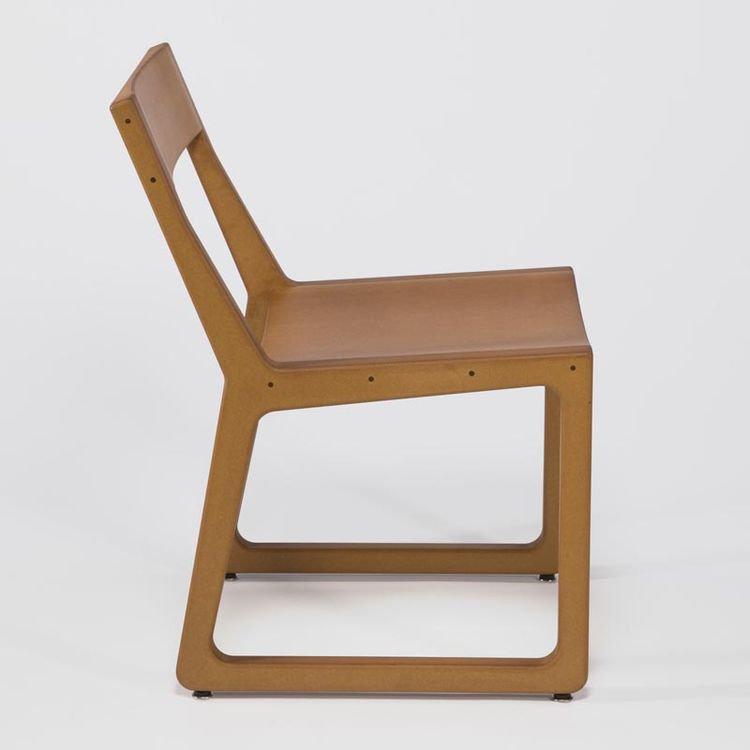 Roadrunner Chair designed in 2006 by DoubleButter. Made of medium-density fiberboard (MDF), linseed oil, and pine-resin varnish. Manufactured by DoubleButter in Denver, Colorado.