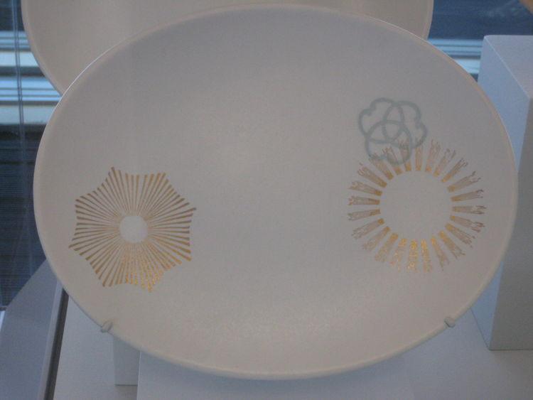 Asian-inspired gold-leaf platters.