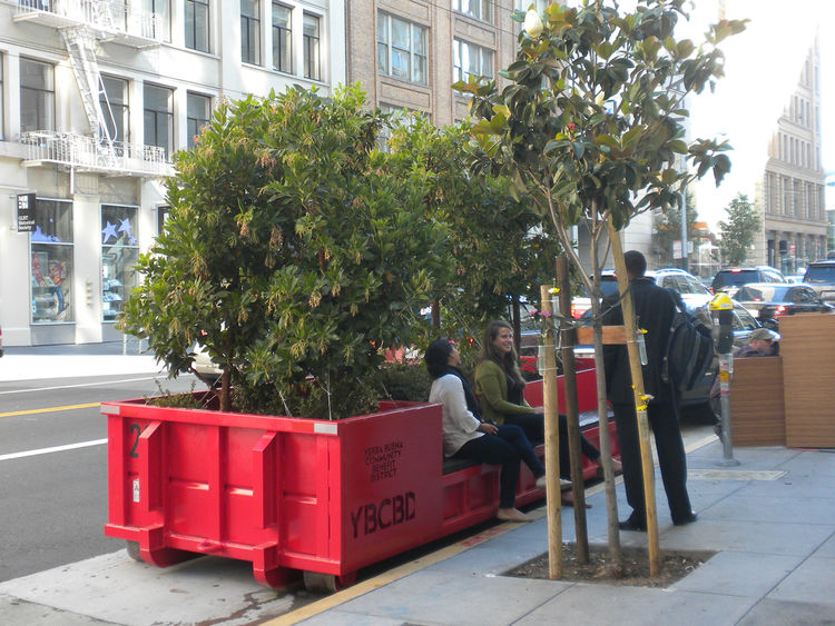 """The Parkmobiles aim to alleviate the lack-of-seating and lack-of-greenery problems in the Yerba Buena neighborhood (and fits into the goal of """"improve sidewalks for street life""""). The first two Parkmobiles will be parked in front of the Catharine Clark Ga"""