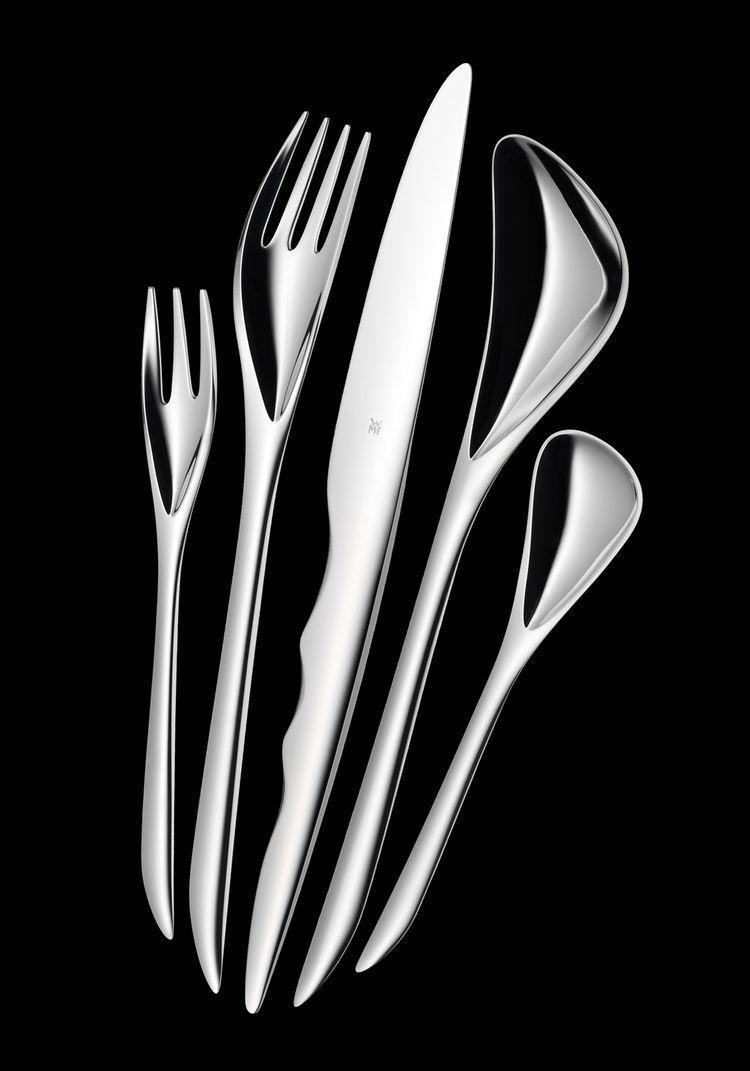 WMF Flatware (5 piece), 2007. Zaha Hadid (Iraqi, b. 1950). Stainless steel. Dinner Fork: 8 3/4 in, Salad Fork: 6 5/8 in, Dinner Knife: 9 1/8 in, Teaspoon: 5 7/8 in, Soup Spoon: 8 7/8 in. Made by Württembergische Metallwarenfabrik AG, Geislingen, Germany.