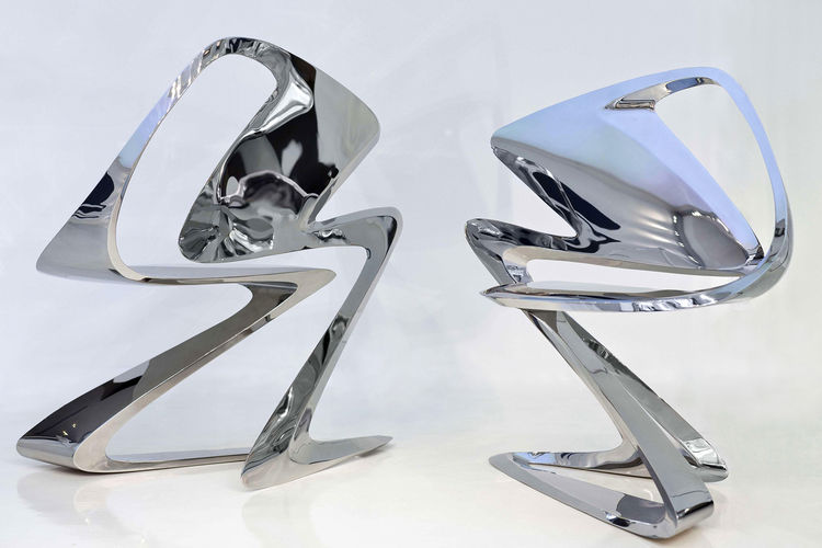 Z-Chair, 2011. Zaha Hadid (Iraqi, b. 1950). Stainless steel. 34 5/8 x 24 x 36 1/4 in. Silver. Enrico Suà Ummarino, courtesy of Sawaya & Moroni.