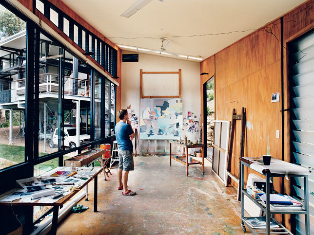 Stefan's studio has good daylight, plywood walls, and an extra-big entrance for his large-scale work.