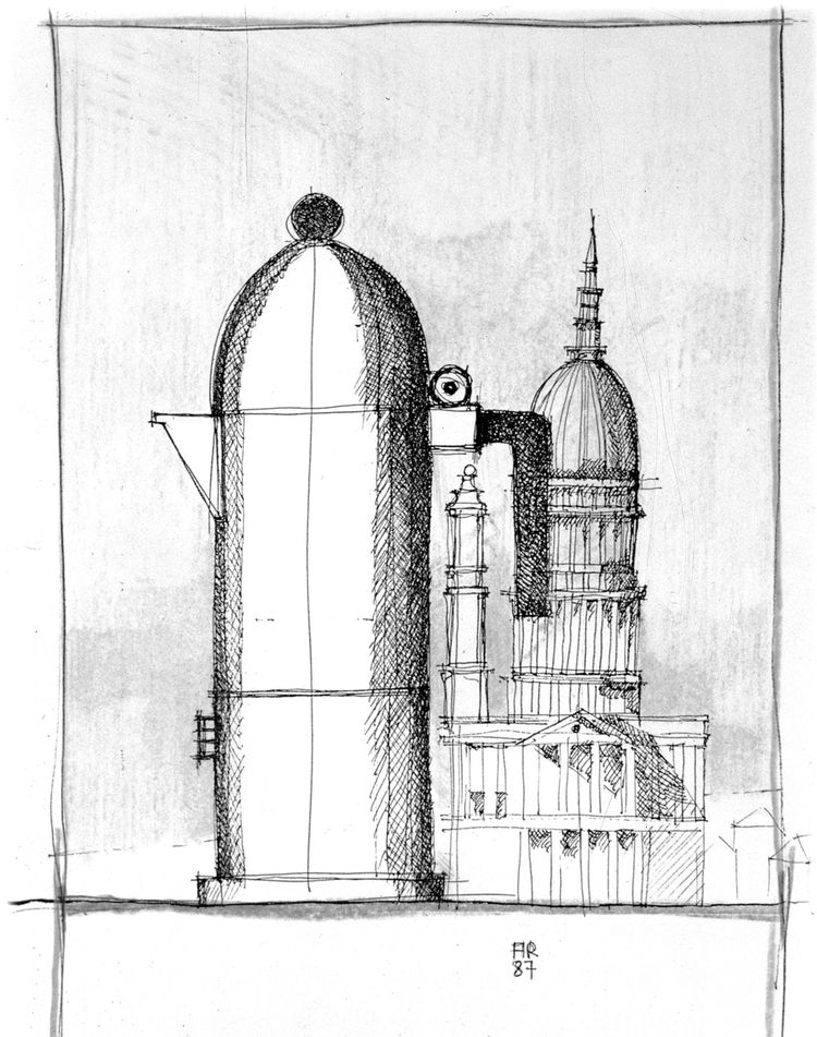 Introduced four years after La Conica, Rossi's La Cupola espresso maker borrowed very literally from his background as an architect. The sketch of La Cupola, from 1987, shows the piece as a purely architectural element among its classical, inspirational b