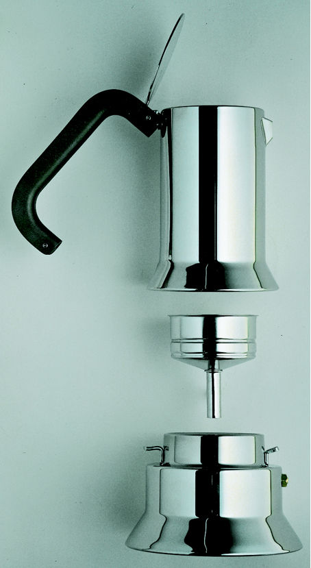 Sapper's resulting stacked, three-piece espresso machine, in stainless steel, is now in the permanent collection at MoMA, gifted by Alessi to the museum.