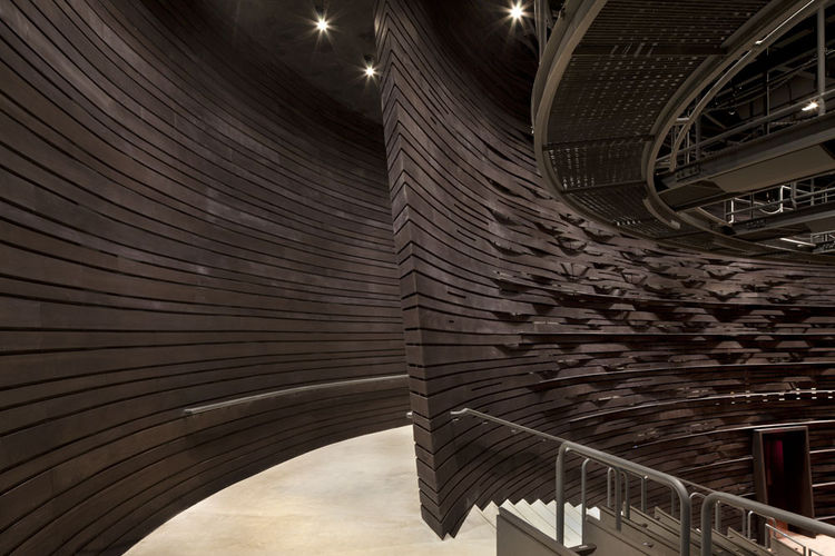 """The ovular shape of the new space, built to showcase new and developing work, derived, according to Thom, from Molly Smith's habit of shaping a cradle with her hands when describing how the Kogod would nurture the theater of the future. """"I wanted people t"""