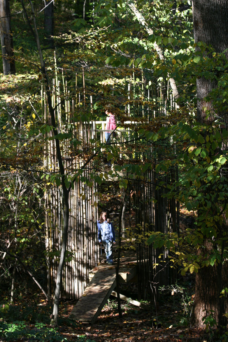 Although the tree house blends into the wooded area on the Stubbs' property, it's less than 100 feet from the house and Laurie can watch the girls (in this image, Emily is on the top platform and Abigail is in the lower-level entry) at play from her home