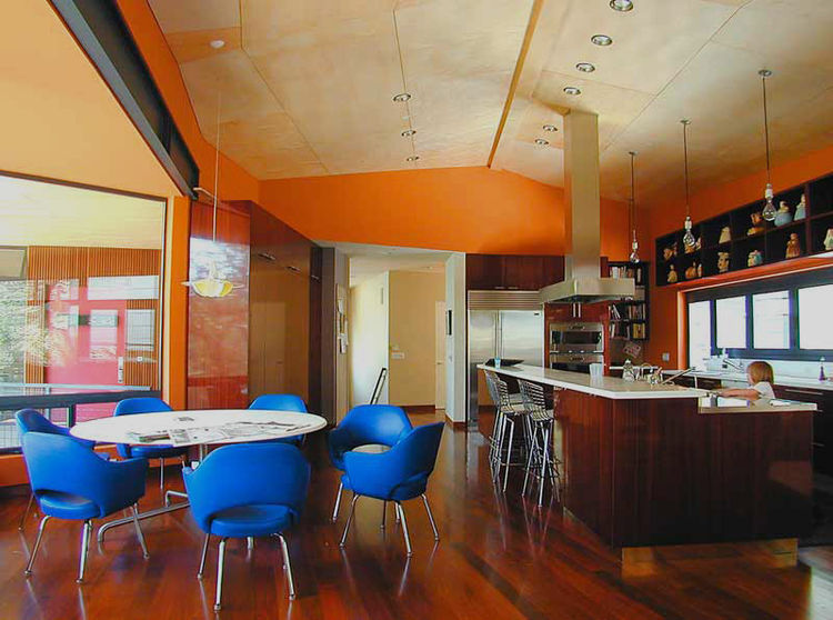 """The Carter House is in Mandeville Canyon in Los Angeles and is a kitchen for an avid cook. The appliances were each selected for their performance, without regard for whether or not the handles matched. When we designed the house we met at the clients' p"
