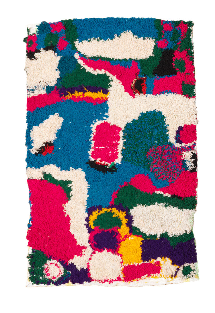 "This 2'5"" by 3'3"" rug is an improvised interpretation of crazy quilt designs."