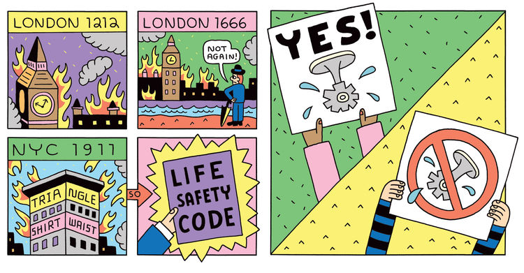 An illustration by Andy Rementer showing what's happened to buildings in London and New York that lead to the Life Safety Code.