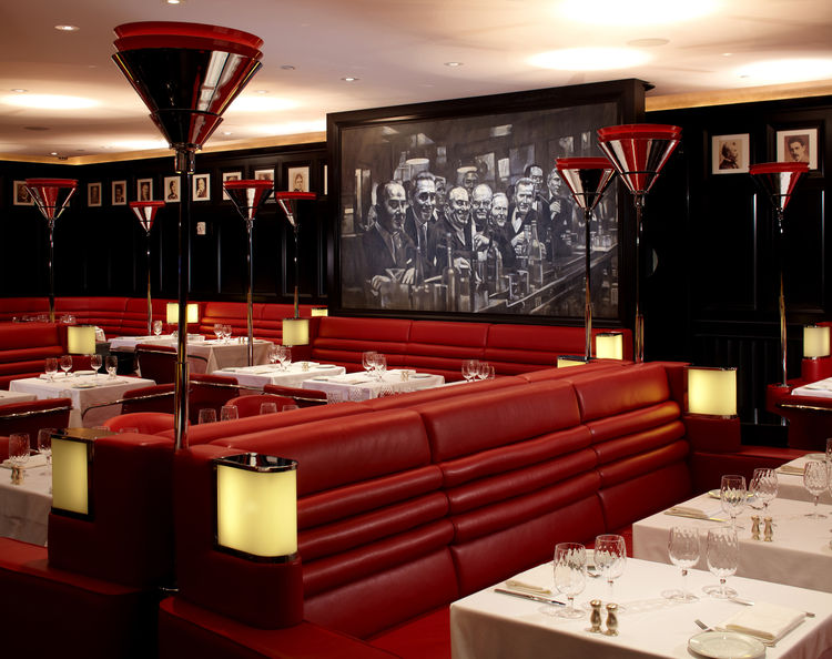 The restaurant's chiaroscuro painting, which evokes the easy, well-lubricated sodality of Broadway in its heyday, exemplifies Despont's use of contemporary artworks (including a double-height mural in the lobby) to locate the design in past and contempora