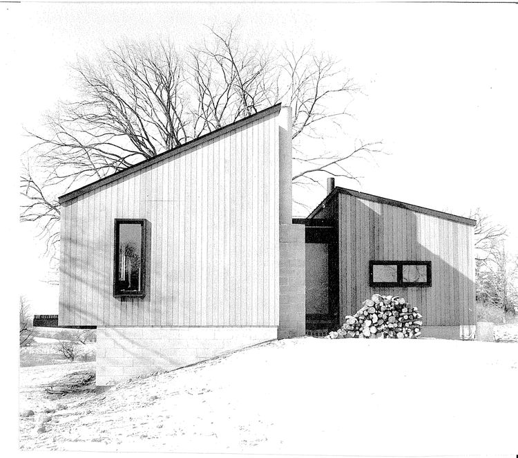 This elevation photo of the same house from 1961 shows Cohen's fascination with clean, vertical lines and the influence of Japanese design has had on his work.