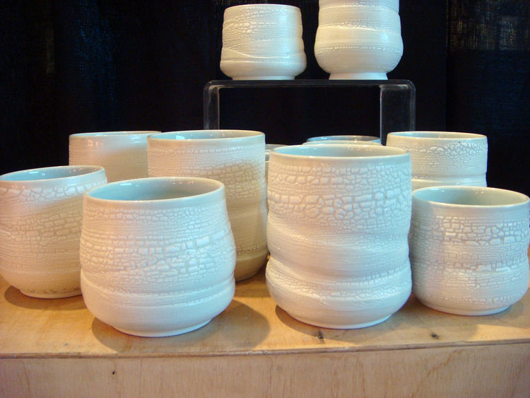 "Inspired by Scandinavian and Asian design, Arcata, California-based <a href=""http://www.peggyloudon.com"">Peggy Loudon</a> creates objects that ""bring a sense of beauty and calm to a home."" I really liked the crackle glaze on these cups, which looks like c"