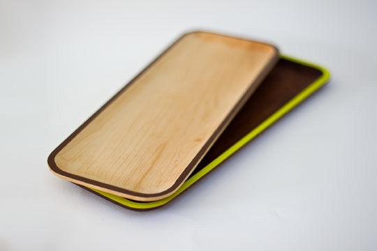 Maple and walnut trays by David Rasmussen Design.