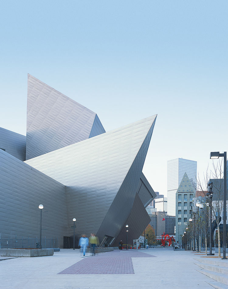 Daniel Libeskind's Denver Art Museum, whose titanium-clad exterior shimmers in the afternoon sun.
