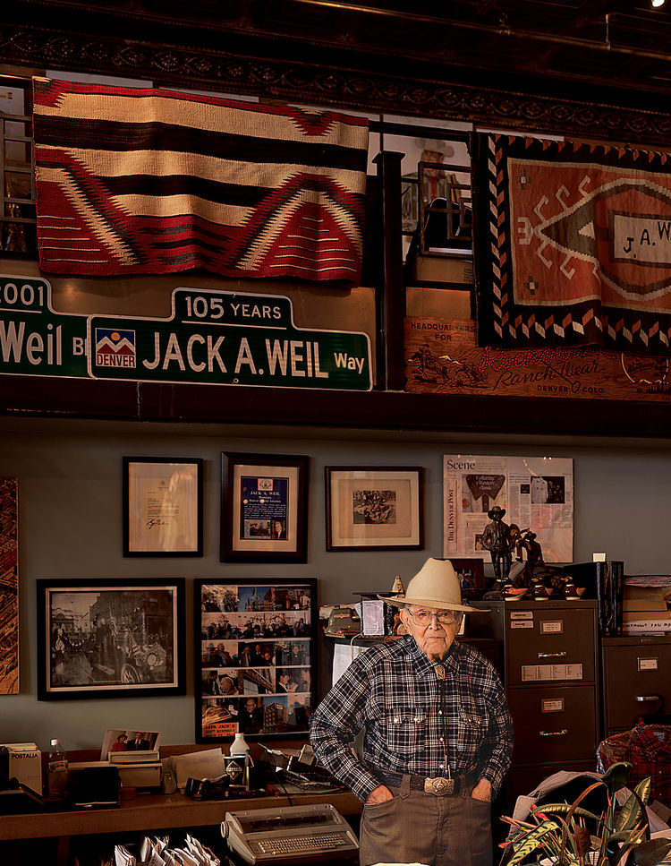 Jack A. Weil, who, at 105 years old, has manned the counter at Rockmount Ranch Wear since opening the business in 1946.