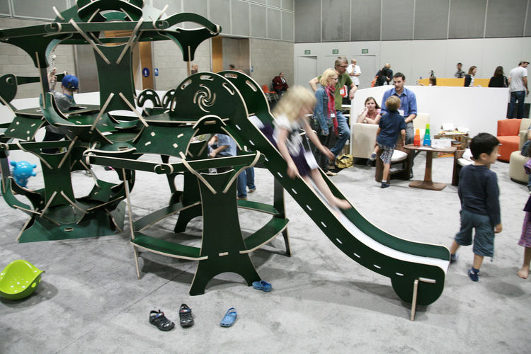"A refreshing antidote to the conformist wood-and-metal play structure, the <a href=""http://www.greggfleishman.com/M-4%20Playgoda.html"">M-4 Playgoda</a>, an interlocking, zero-hardware Finnish-ply climbing structure by Gregg Fleishman, attracted hoards of"
